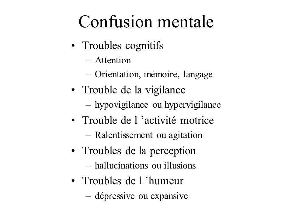Confusion mentale Troubles cognitifs –Attention –Orientation, mémoire, langage Trouble de la vigilance –hypovigilance ou hypervigilance Trouble de l a