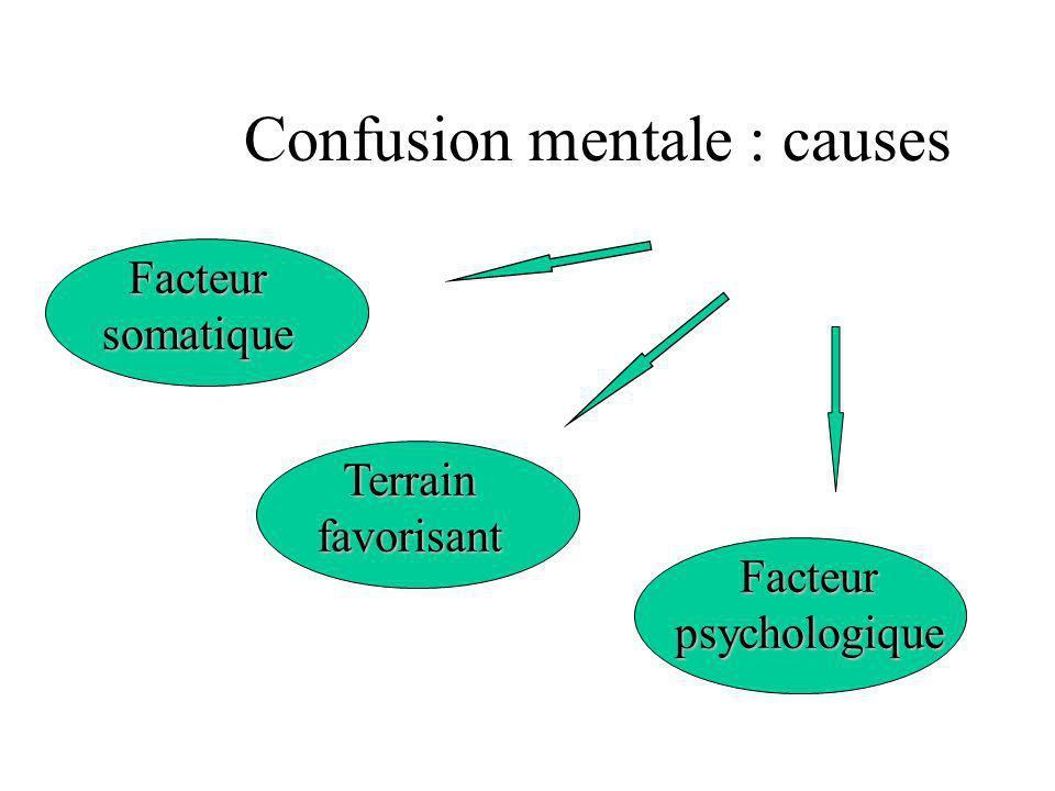 Confusion mentale : causes Facteurpsychologique Facteursomatique Terrainfavorisant