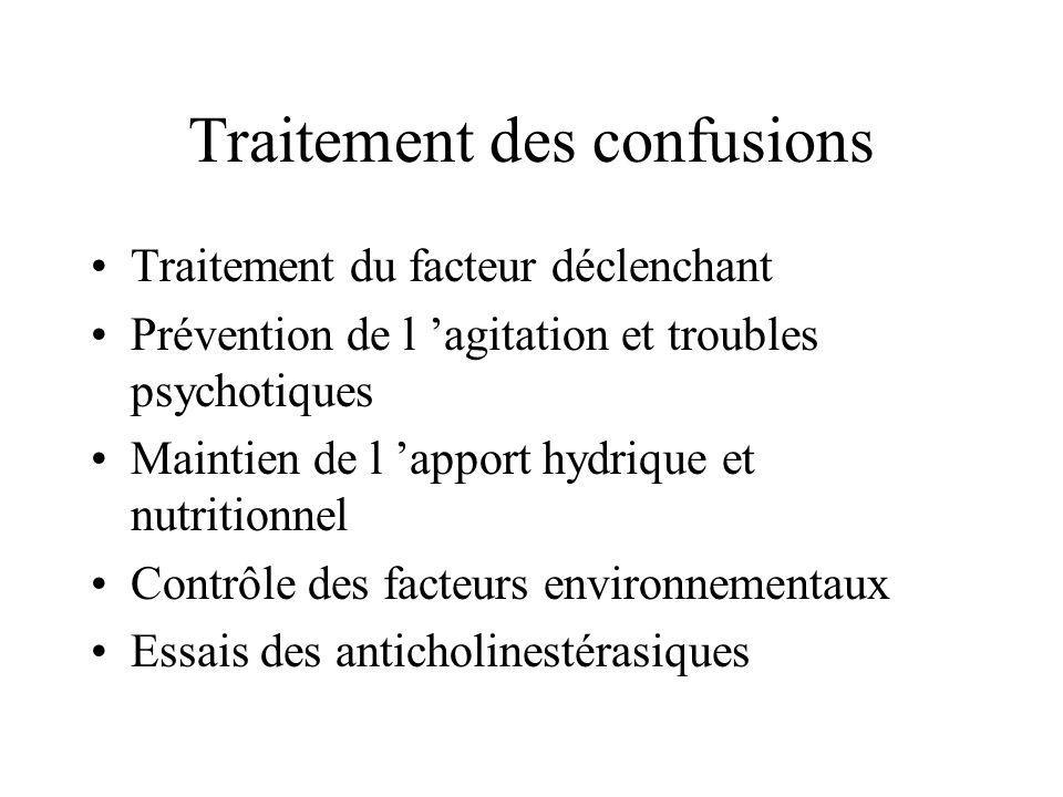 Traitement des confusions Traitement du facteur déclenchant Prévention de l agitation et troubles psychotiques Maintien de l apport hydrique et nutrit