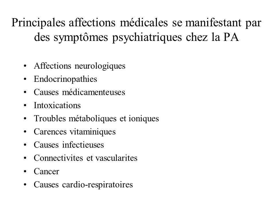 Principales affections médicales se manifestant par des symptômes psychiatriques chez la PA Affections neurologiques Endocrinopathies Causes médicamen