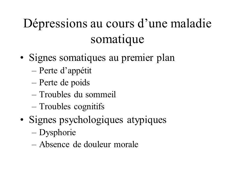 Dépressions au cours dune maladie somatique Signes somatiques au premier plan –Perte dappétit –Perte de poids –Troubles du sommeil –Troubles cognitifs