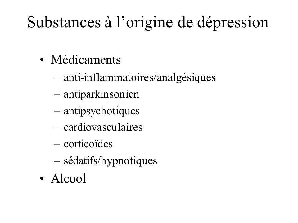 Substances à lorigine de dépression Médicaments –anti-inflammatoires/analgésiques –antiparkinsonien –antipsychotiques –cardiovasculaires –corticoïdes