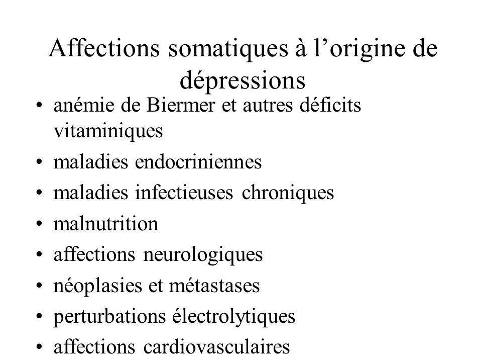 Affections somatiques à lorigine de dépressions anémie de Biermer et autres déficits vitaminiques maladies endocriniennes maladies infectieuses chroni