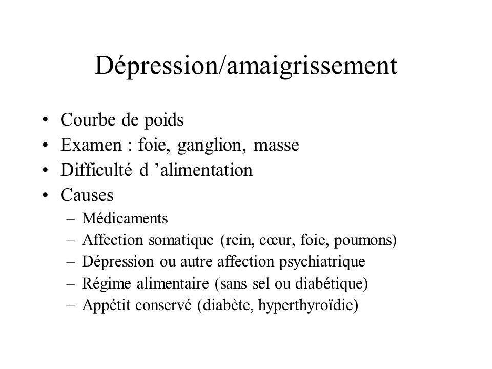 Dépression/amaigrissement Courbe de poids Examen : foie, ganglion, masse Difficulté d alimentation Causes –Médicaments –Affection somatique (rein, cœu