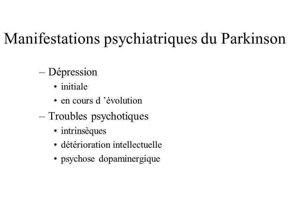 Manifestations psychiatriques du Parkinson –Dépression initiale en cours d évolution –Troubles psychotiques intrinsèques détérioration intellectuelle