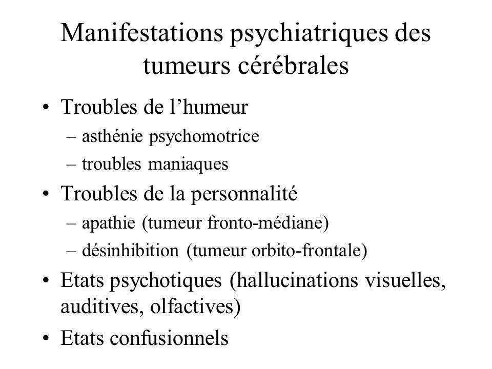 Manifestations psychiatriques des tumeurs cérébrales Troubles de lhumeur –asthénie psychomotrice –troubles maniaques Troubles de la personnalité –apat
