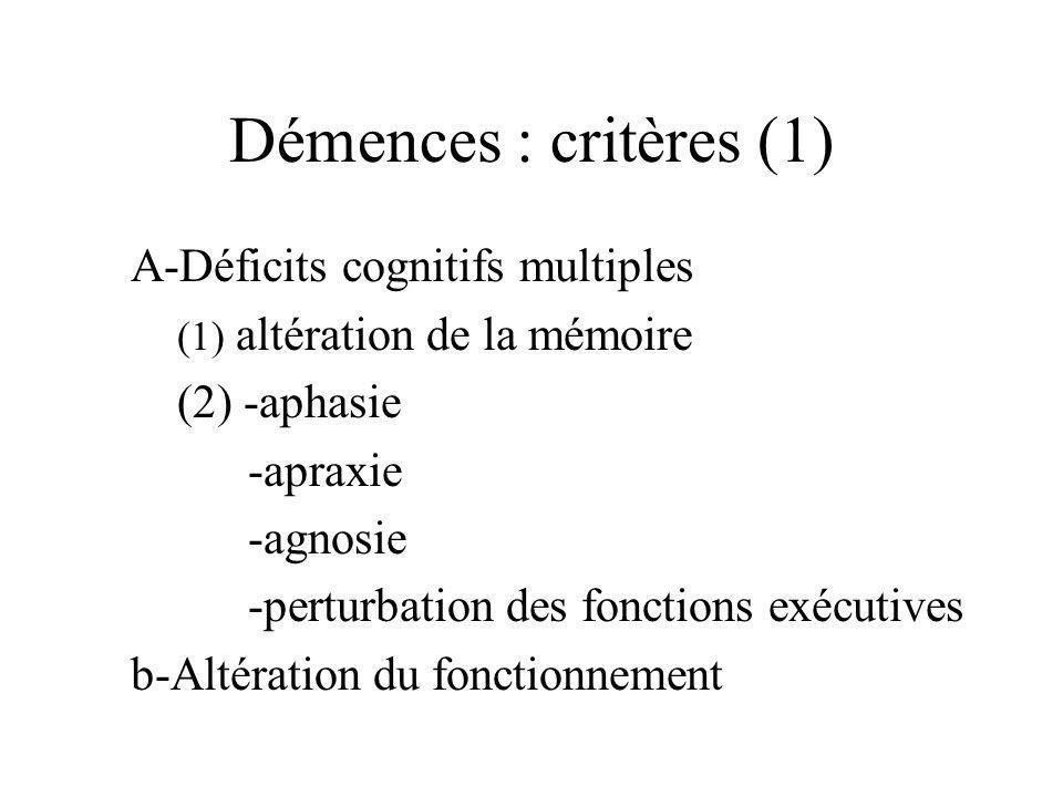 Démences : critères (1) A-Déficits cognitifs multiples (1) altération de la mémoire (2) -aphasie -apraxie -agnosie -perturbation des fonctions exécuti
