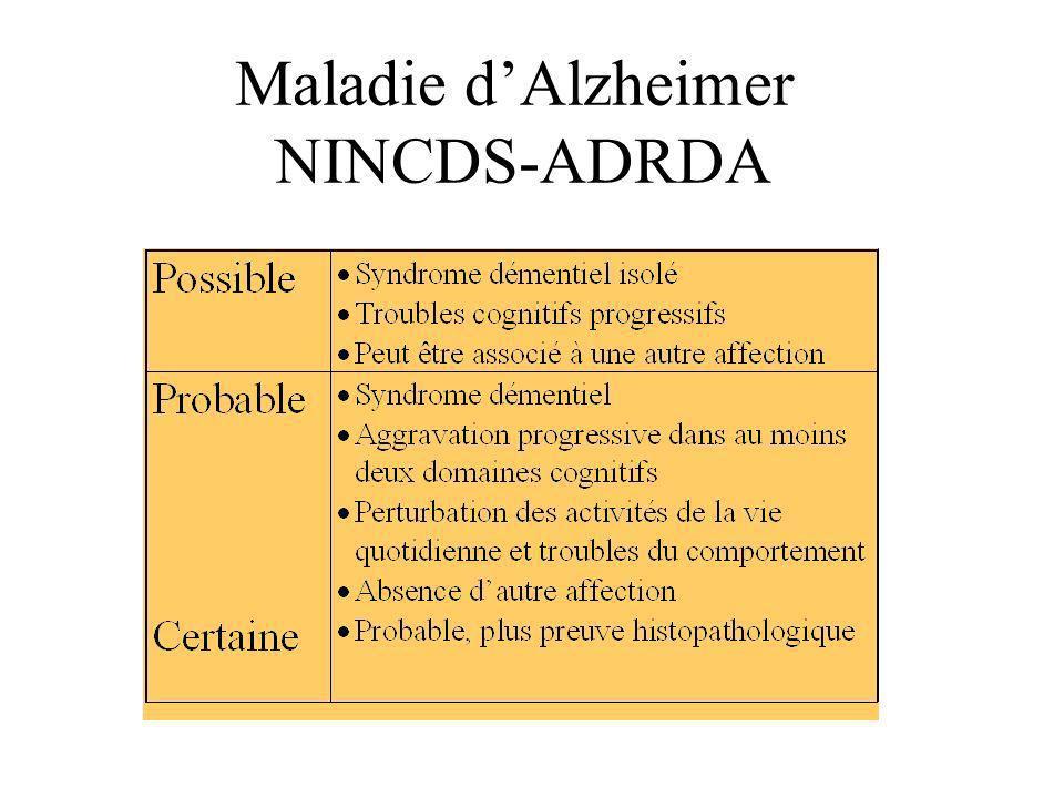 Maladie dAlzheimer NINCDS-ADRDA
