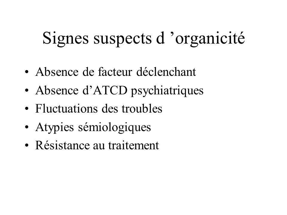 Signes suspects d organicité Absence de facteur déclenchant Absence dATCD psychiatriques Fluctuations des troubles Atypies sémiologiques Résistance au