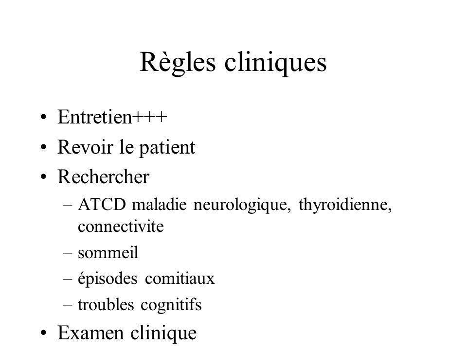 Règles cliniques Entretien+++ Revoir le patient Rechercher –ATCD maladie neurologique, thyroidienne, connectivite –sommeil –épisodes comitiaux –troubl