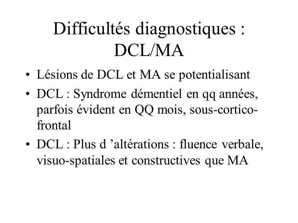 Difficultés diagnostiques : DCL/MA Lésions de DCL et MA se potentialisant DCL : Syndrome démentiel en qq années, parfois évident en QQ mois, sous-cort