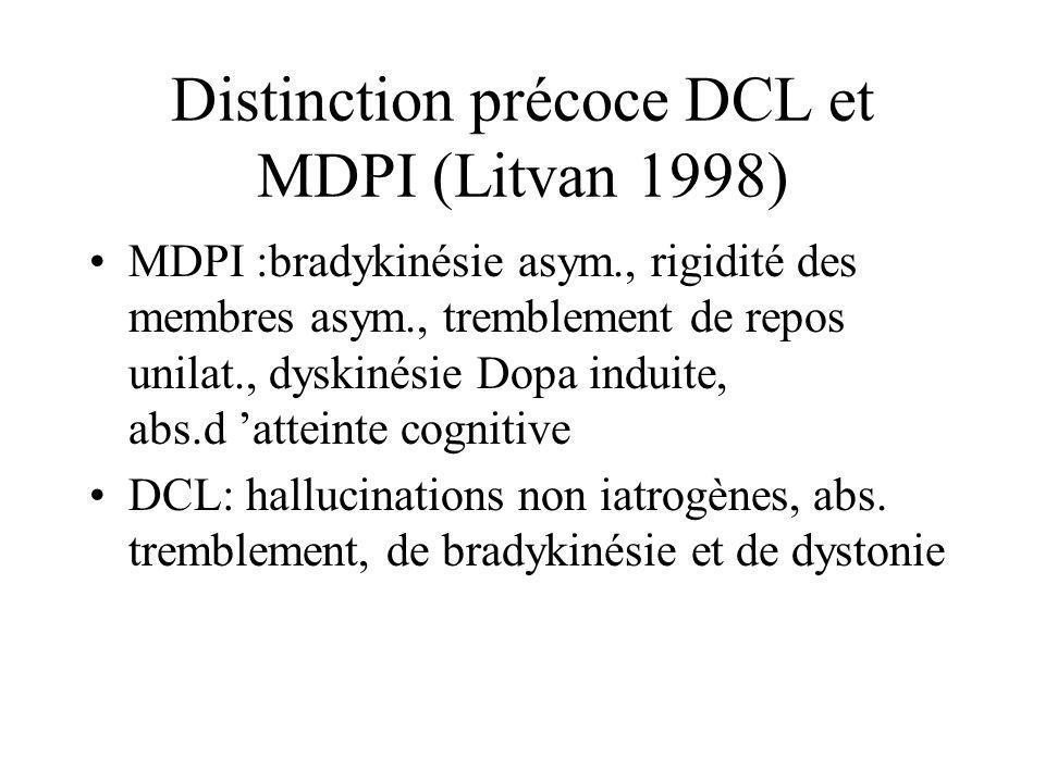 Distinction précoce DCL et MDPI (Litvan 1998) MDPI :bradykinésie asym., rigidité des membres asym., tremblement de repos unilat., dyskinésie Dopa indu