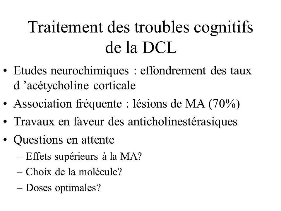 Traitement des troubles cognitifs de la DCL Etudes neurochimiques : effondrement des taux d acétycholine corticale Association fréquente : lésions de