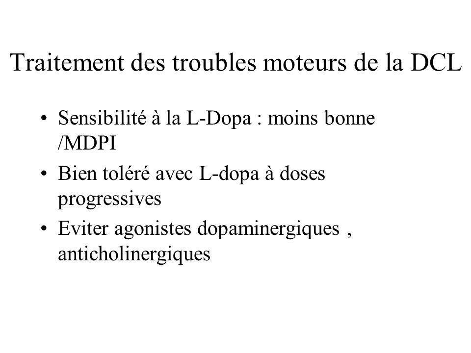 Traitement des troubles moteurs de la DCL Sensibilité à la L-Dopa : moins bonne /MDPI Bien toléré avec L-dopa à doses progressives Eviter agonistes do