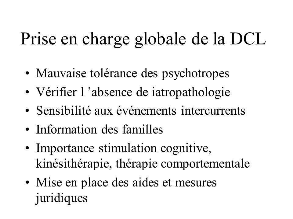 Prise en charge globale de la DCL Mauvaise tolérance des psychotropes Vérifier l absence de iatropathologie Sensibilité aux événements intercurrents I