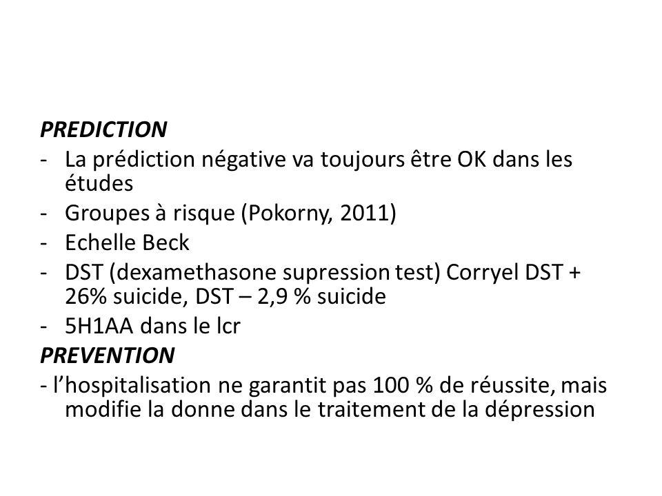 PREDICTION -La prédiction négative va toujours être OK dans les études -Groupes à risque (Pokorny, 2011) -Echelle Beck -DST (dexamethasone supression