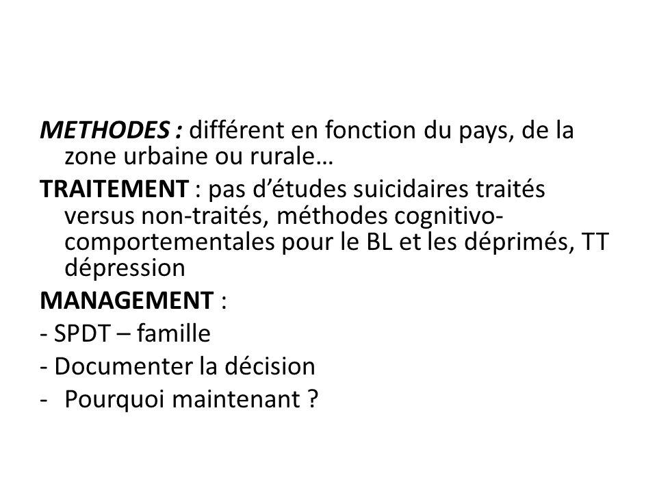 METHODES : différent en fonction du pays, de la zone urbaine ou rurale… TRAITEMENT : pas détudes suicidaires traités versus non-traités, méthodes cogn