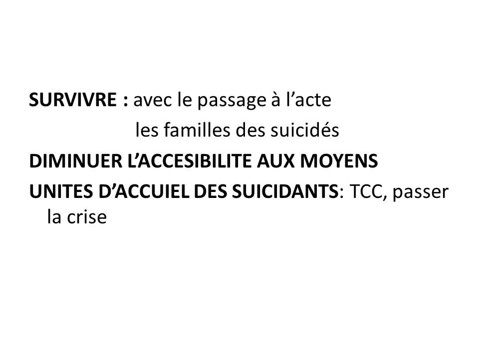 SURVIVRE : avec le passage à lacte les familles des suicidés DIMINUER LACCESIBILITE AUX MOYENS UNITES DACCUIEL DES SUICIDANTS: TCC, passer la crise