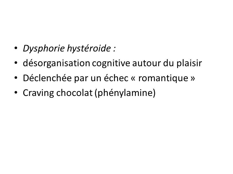 Dysphorie hystéroide : désorganisation cognitive autour du plaisir Déclenchée par un échec « romantique » Craving chocolat (phénylamine)