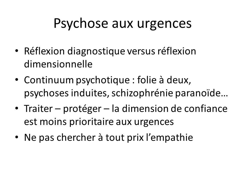 Psychose aux urgences Réflexion diagnostique versus réflexion dimensionnelle Continuum psychotique : folie à deux, psychoses induites, schizophrénie p