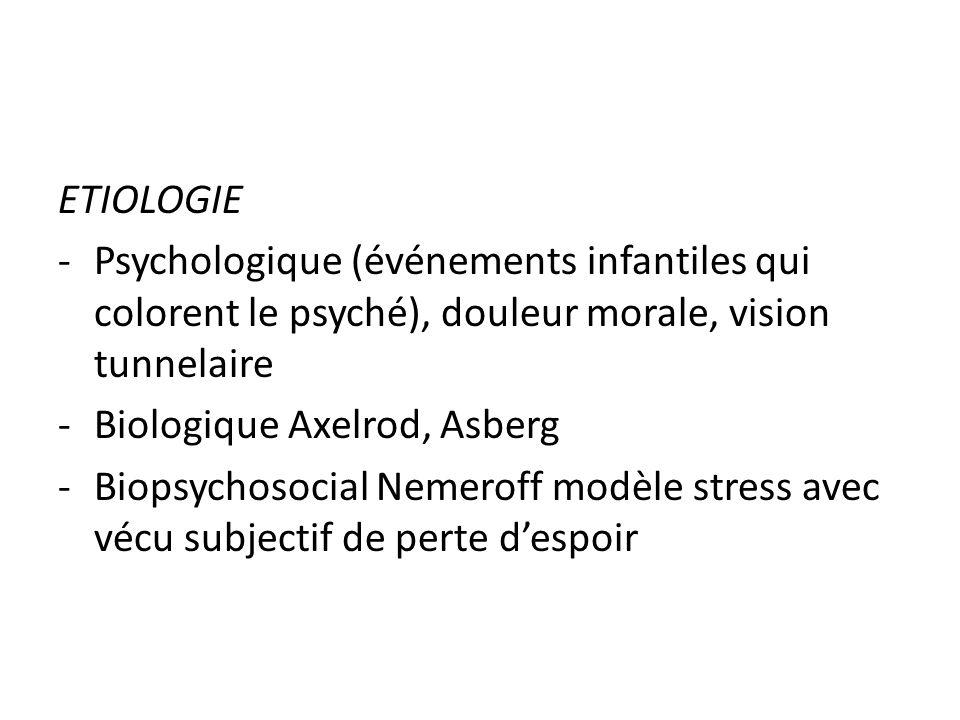 ETIOLOGIE -Psychologique (événements infantiles qui colorent le psyché), douleur morale, vision tunnelaire -Biologique Axelrod, Asberg -Biopsychosocia