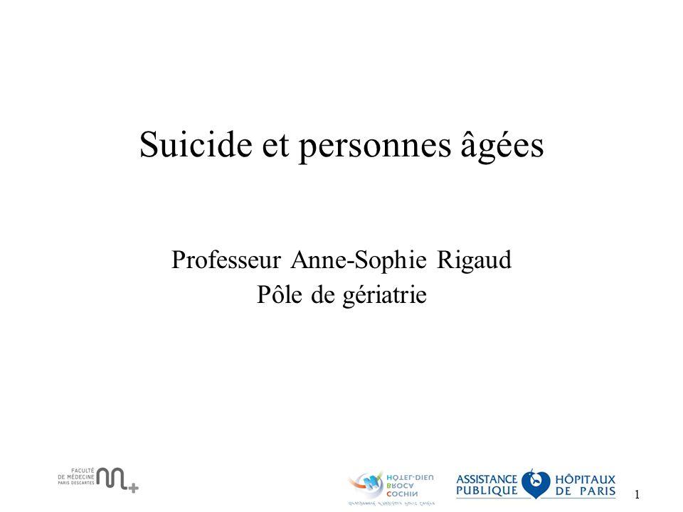 2 Epidémiologie du suicide chez la personne âgée