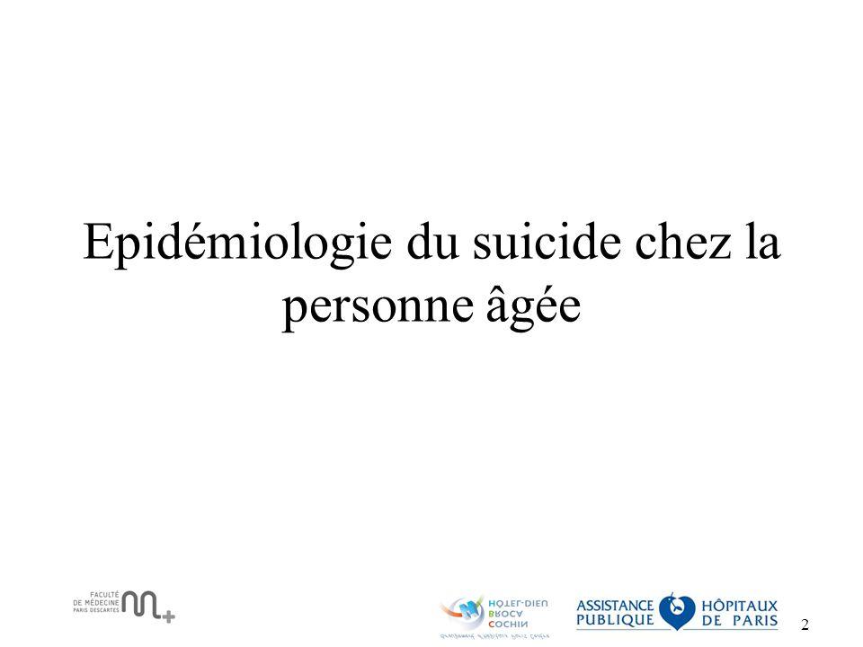 3 La France a un taux de suicide parmi les plus élevés en Europe Pays65 –74 ans75-84 ans>84 ans France31.213.757.4 Italie13.222.922.4 Suisse35.138.755.3 Espagne15.221.121.8