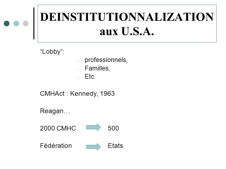 DEINSTITUTIONNALIZATION aux U.S.A.Lobby: - professionnels, - Familles, - Etc.