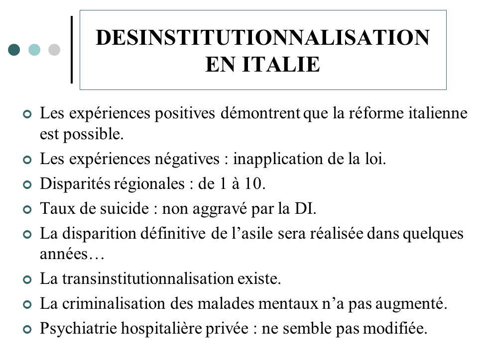 DESINSTITUTIONNALISATION EN ITALIE Les expériences positives démontrent que la réforme italienne est possible.