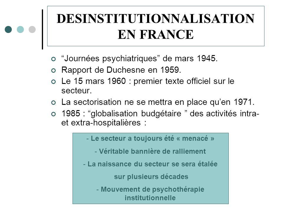 DESINSTITUTIONNALISATION EN FRANCE Journées psychiatriques de mars 1945.