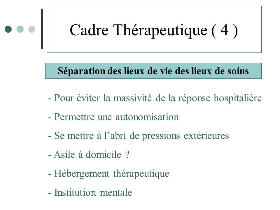 Cadre Thérapeutique ( 4 ) Séparation des lieux de vie des lieux de soins - Pour éviter la massivité de la réponse hospitalière - Permettre une autonomisation - Se mettre à labri de pressions extérieures - Asile à domicile .
