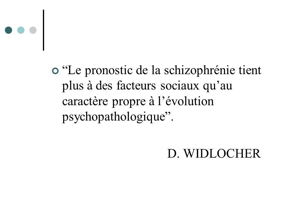 Le pronostic de la schizophrénie tient plus à des facteurs sociaux quau caractère propre à lévolution psychopathologique.