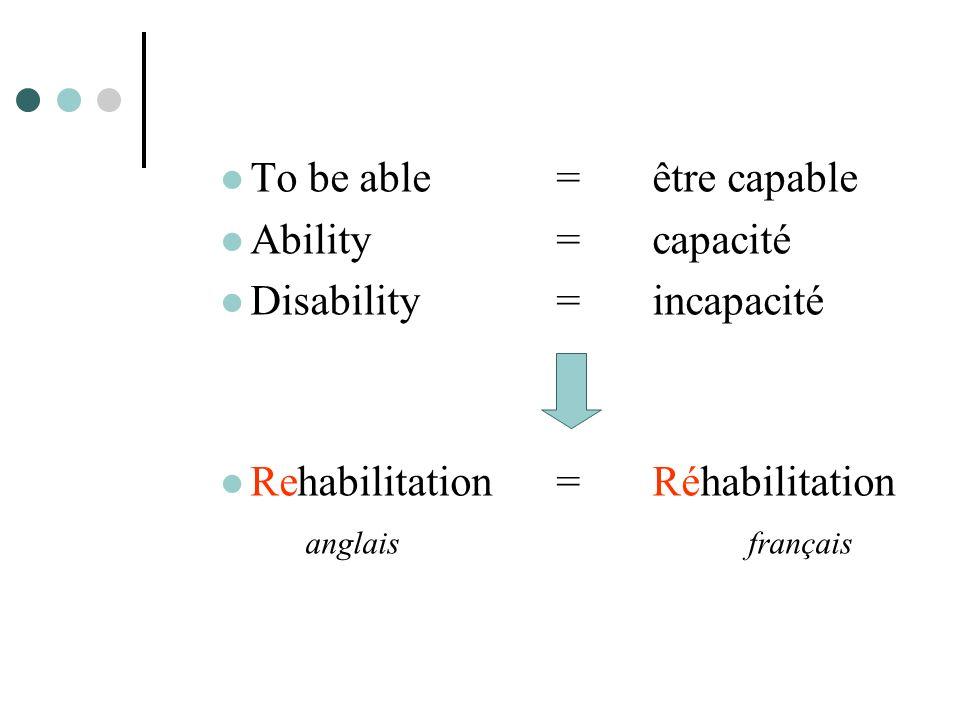 To be able = être capable Ability = capacité Disability = incapacité Rehabilitation= Réhabilitation anglaisfrançais