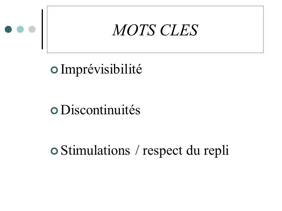 MOTS CLES Imprévisibilité Discontinuités Stimulations / respect du repli