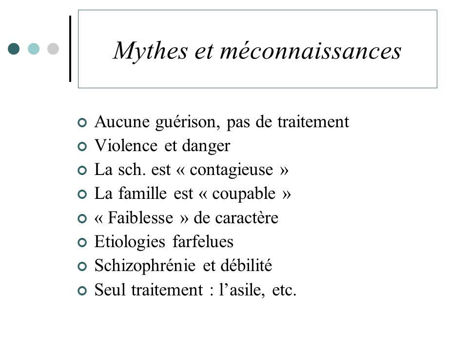 Mythes et méconnaissances Aucune guérison, pas de traitement Violence et danger La sch.