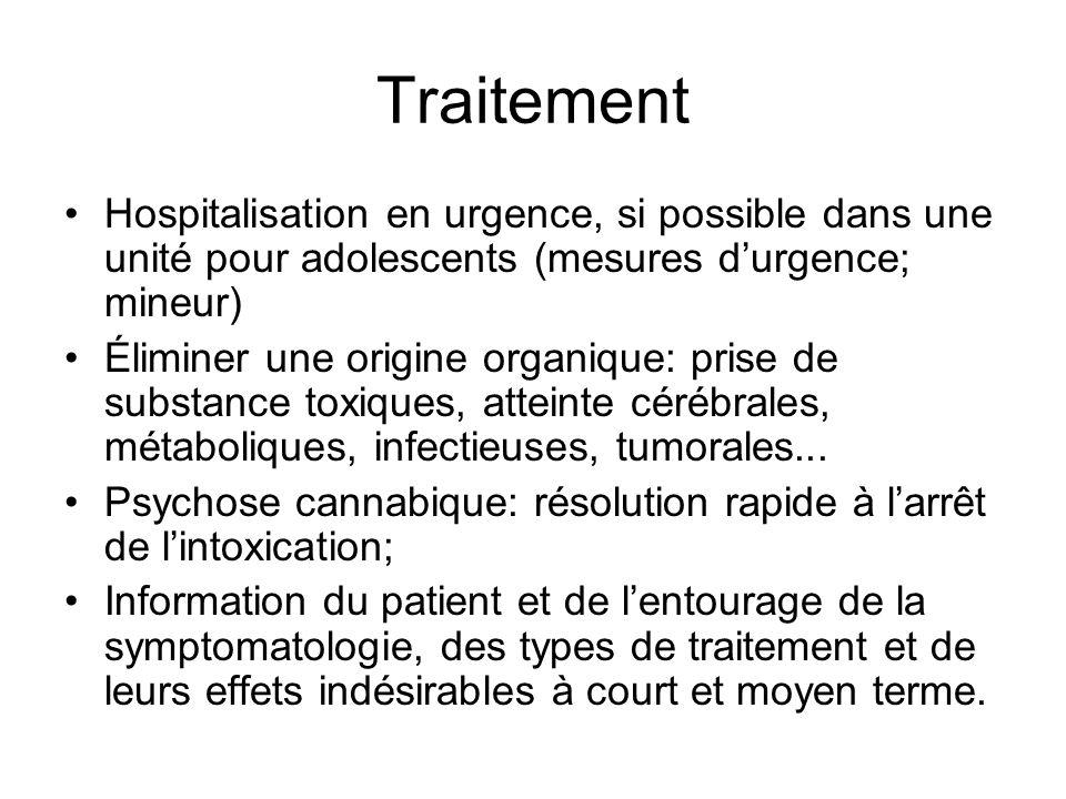 Traitement Hospitalisation en urgence, si possible dans une unité pour adolescents (mesures durgence; mineur) Éliminer une origine organique: prise de