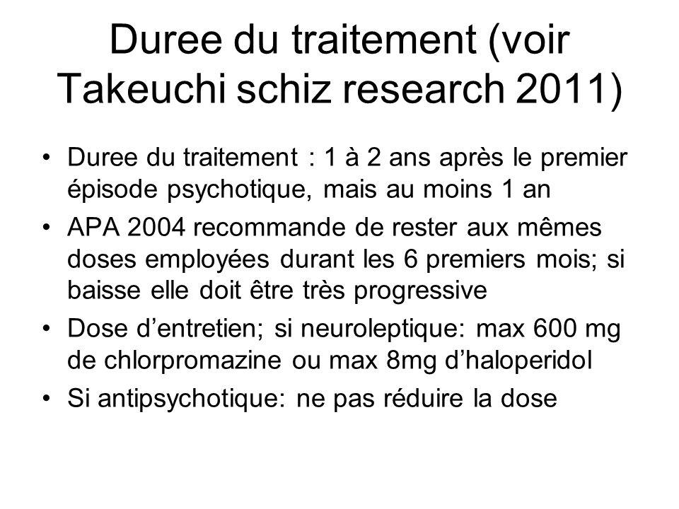 Duree du traitement (voir Takeuchi schiz research 2011) Duree du traitement : 1 à 2 ans après le premier épisode psychotique, mais au moins 1 an APA 2