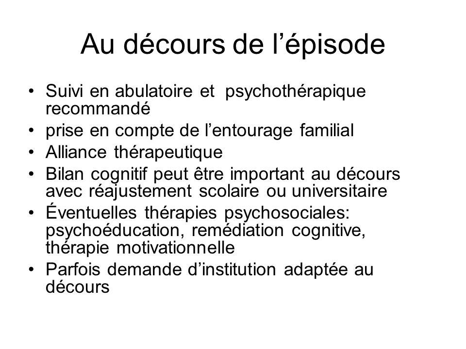 Au décours de lépisode Suivi en abulatoire et psychothérapique recommandé prise en compte de lentourage familial Alliance thérapeutique Bilan cognitif