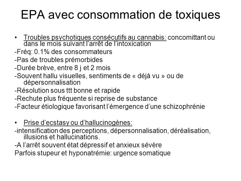 EPA avec consommation de toxiques Troubles psychotiques consécutifs au cannabis: concomittant ou dans le mois suivant larrêt de lintoxication -Fréq: 0