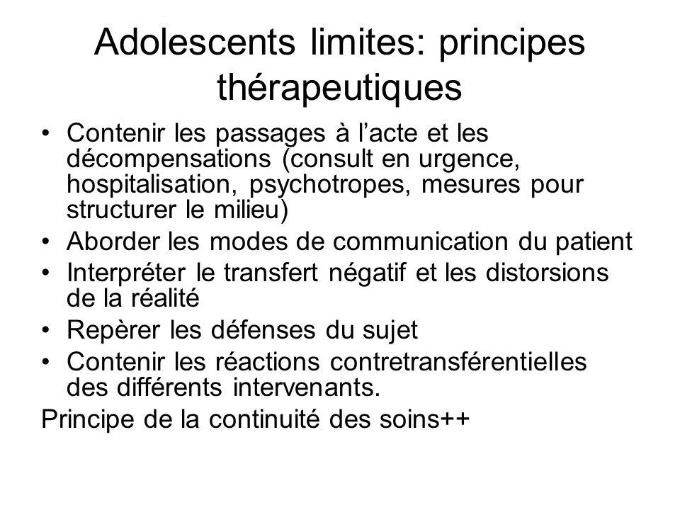 Adolescents limites: principes thérapeutiques Contenir les passages à lacte et les décompensations (consult en urgence, hospitalisation, psychotropes,