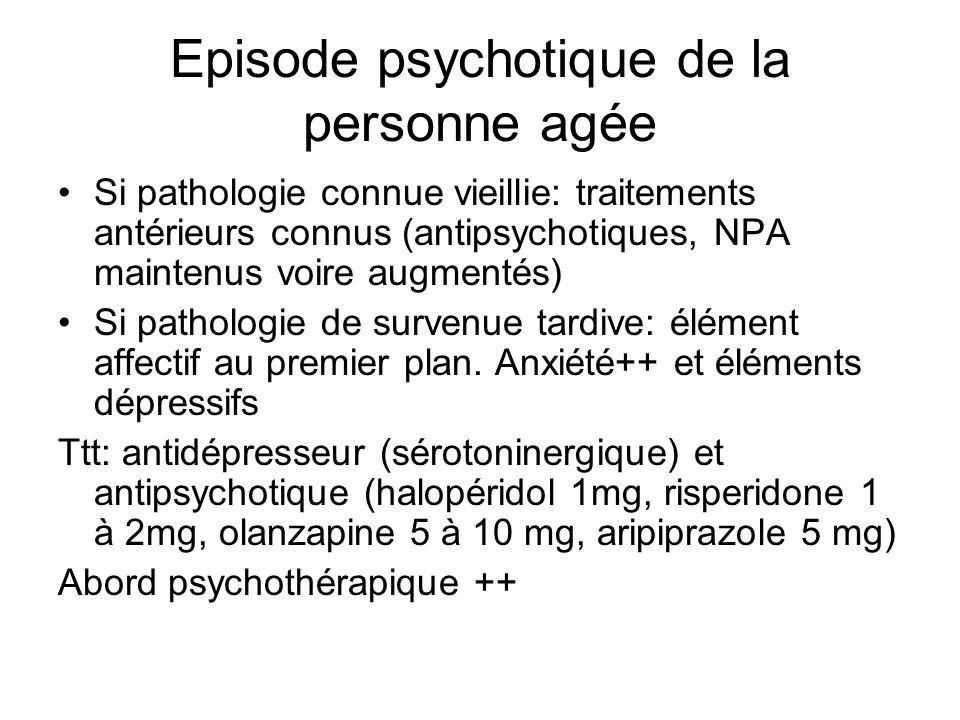 Episode psychotique de la personne agée Si pathologie connue vieillie: traitements antérieurs connus (antipsychotiques, NPA maintenus voire augmentés)