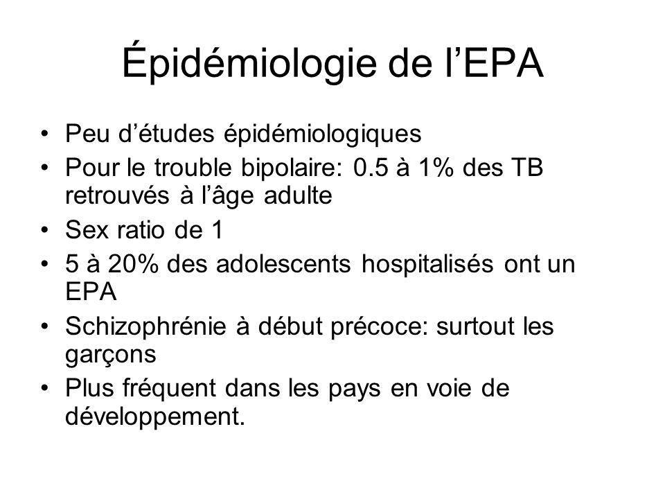 Épidémiologie de lEPA Peu détudes épidémiologiques Pour le trouble bipolaire: 0.5 à 1% des TB retrouvés à lâge adulte Sex ratio de 1 5 à 20% des adole