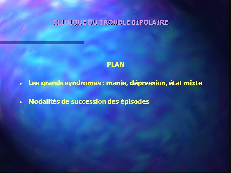 CLINIQUE DU TROUBLE BIPOLAIRE PLAN Les grands syndromes : manie, dépression, état mixte Modalités de succession des épisodes