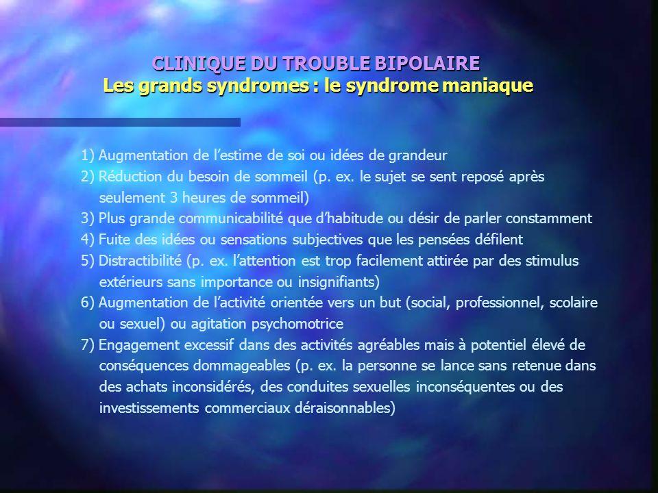 CLINIQUE DU TROUBLE BIPOLAIRE Les grands syndromes : le syndrome maniaque 1) Augmentation de lestime de soi ou idées de grandeur 2) Réduction du besoi