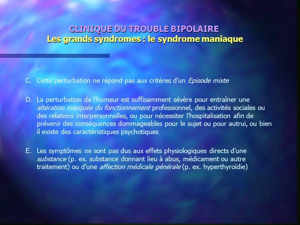 CLINIQUE DU TROUBLE BIPOLAIRE Les grands syndromes : le syndrome maniaque C.Cette perturbation ne répond pas aux critères dun Episode mixte D.La pertu