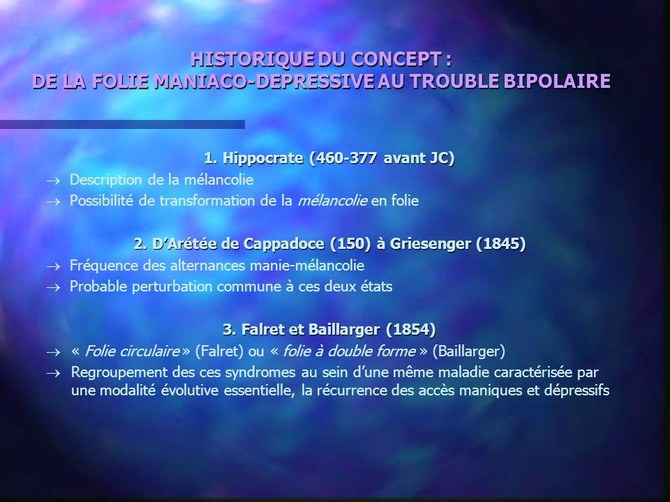 HISTORIQUE DU CONCEPT : DE LA FOLIE MANIACO-DEPRESSIVE AU TROUBLE BIPOLAIRE 1. Hippocrate (460-377 avant JC) Description de la mélancolie Possibilité