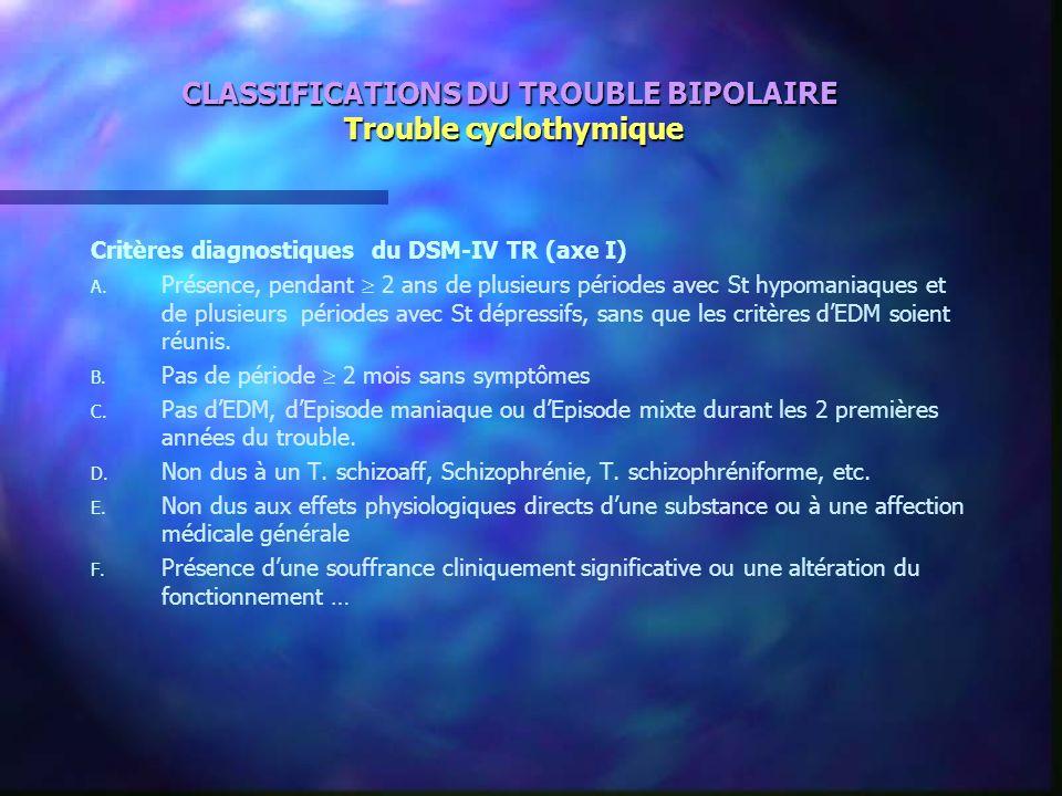 CLASSIFICATIONS DU TROUBLE BIPOLAIRE Trouble cyclothymique Critères diagnostiques du DSM-IV TR (axe I) A. A. Présence, pendant 2 ans de plusieurs péri
