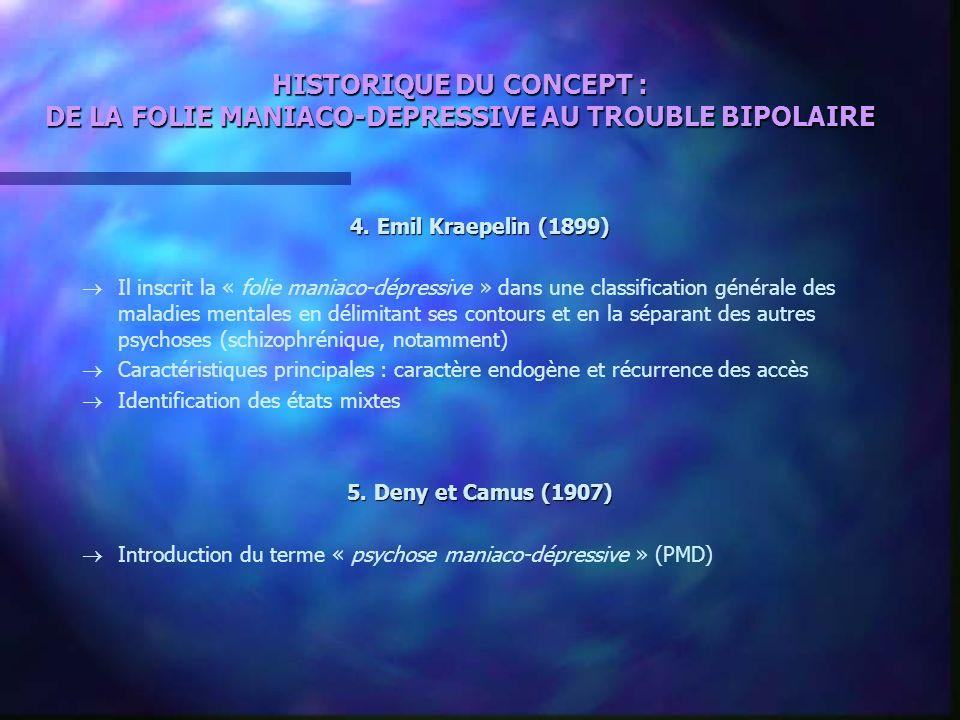 HISTORIQUE DU CONCEPT : DE LA FOLIE MANIACO-DEPRESSIVE AU TROUBLE BIPOLAIRE 4. Emil Kraepelin (1899) Il inscrit la « folie maniaco-dépressive » dans u
