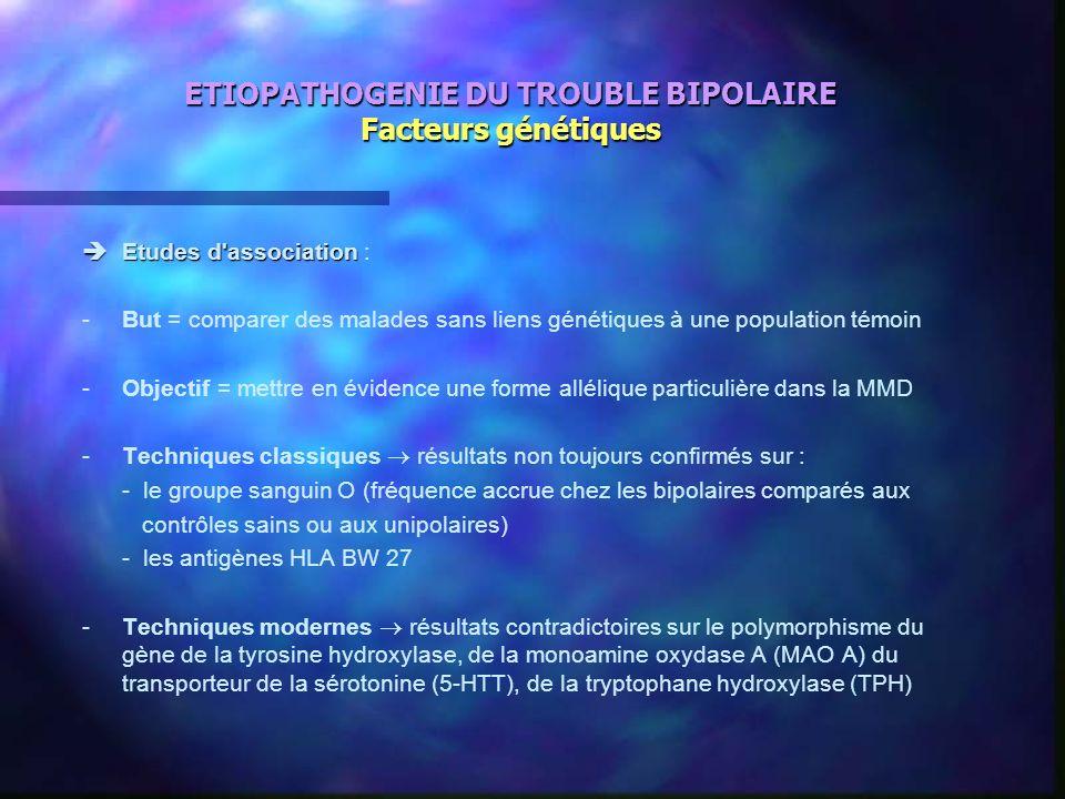 ETIOPATHOGENIE DU TROUBLE BIPOLAIRE Facteurs génétiques Etudes d'association Etudes d'association : -But = comparer des malades sans liens génétiques