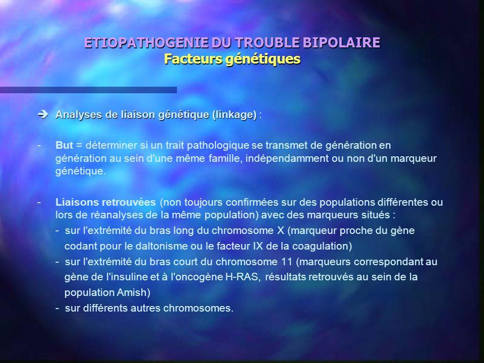 ETIOPATHOGENIE DU TROUBLE BIPOLAIRE Facteurs génétiques Analyses de liaison génétique (linkage) Analyses de liaison génétique (linkage) : -But = déter